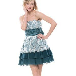 Betsey Johnson Teal Cotton Tape Cocktail Prom Dres